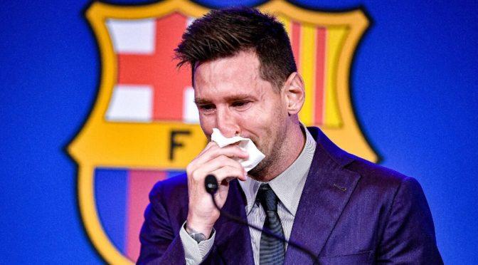 Messi se despidió del Barcelona entre lágrimas.